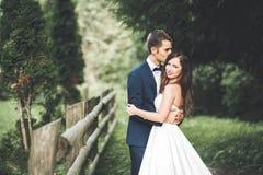 Couples élégants des nouveaux mariés heureux posant en parc leur jour du mariage photo libre de droits