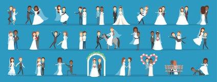 Couples épousant l'ensemble Collection de jeune mariée avec le bouquet illustration libre de droits