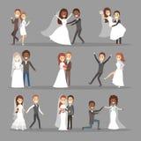 Couples épousant l'ensemble Collection de jeune mariée avec le bouquet illustration stock