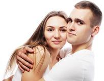 couples étreignant au-dessus du fond blanc Image stock
