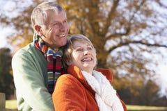 couples étreignant l'aîné de verticale Image stock