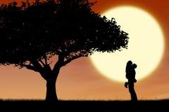 Couples étreignant par un arbre au coucher du soleil illustration de vecteur