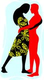 Couples. Illustration of couples hugging of love Stock Photo