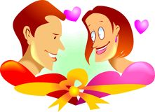 Couples. Illustration of couples of love with ribbon Royalty Free Stock Photo