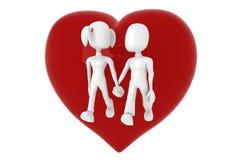 couples 3d marchant avec un coeur rouge dans leur dos Photo libre de droits