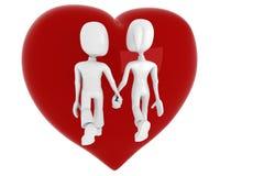 couples 3d marchant avec un coeur rouge dans leur dos Photographie stock