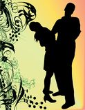 Couples. Silhouette of couples man and woman Stock Photography
