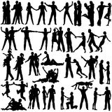 Couples. Set of editable vector silhouettes of man and woman couples with every figure as a separate object Royalty Free Stock Images