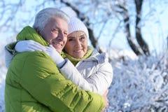 Couples aînés à l'extérieur Photographie stock libre de droits