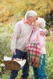 Couples aînés à l'extérieur avec le panier de pique-nique Image libre de droits
