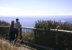 Couples aînés à l'océan Image stock