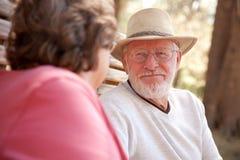 Couples aînés affectueux à l'extérieur Image stock