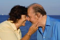 Couples aînés affectueux heureux Images libres de droits