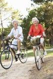 Couples aînés appréciant la conduite de cycle Images libres de droits