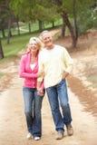 Couples aînés appréciant la promenade en stationnement Image libre de droits