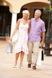 Couples aînés appréciant le voyage d'achats Image libre de droits