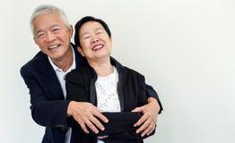 Couples aînés asiatiques heureux Succès dans les affaires et la vie, togher Images stock