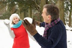 Couples aînés ayant le combat de boule de neige Image stock