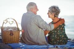 Couples aînés ayant un pique-nique Photo stock