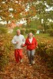 Couples aînés courant en stationnement Photographie stock libre de droits