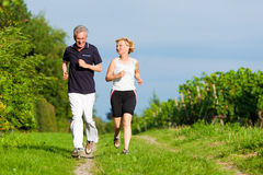 Couples aînés courant pour le sport photographie stock