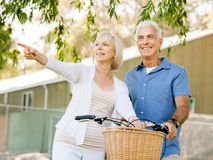Couples aînés détendant en stationnement Images stock