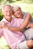 Couples aînés détendant ensemble en stationnement Photographie stock