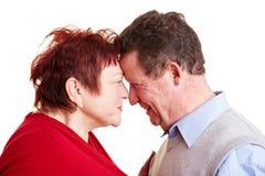 Couples aînés dans l'amour regardant dans Photographie stock libre de droits