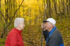 Couples aînés dans les bois. Image libre de droits