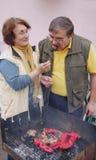 Couples aînés effectuant le barbecue Images libres de droits