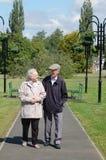Couples aînés flânant en stationnement Photo libre de droits