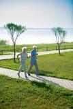 Couples aînés fonctionnant en stationnement images stock