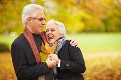 Couples aînés heureux dans une forêt Photo stock