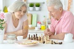Couples aînés heureux jouant aux échecs Photographie stock libre de droits
