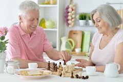 Couples aînés heureux jouant aux échecs Images stock