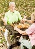 Couples aînés heureux jouant aux échecs Image stock