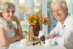 Couples aînés heureux jouant aux échecs Images libres de droits