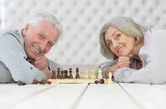 Couples aînés heureux jouant aux échecs Photo libre de droits