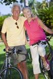 Couples aînés heureux sur des bicyclettes en stationnement Photos libres de droits