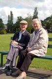 Couples aînés heureux sur le banc de stationnement Photos libres de droits