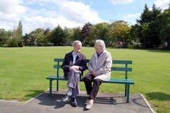 Couples aînés heureux sur le banc de stationnement Image libre de droits