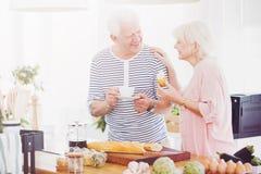 Couples aînés mangeant le déjeuner Photo libre de droits