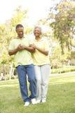 Couples aînés marchant en stationnement photos stock