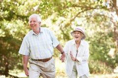 Couples aînés marchant en stationnement Photographie stock libre de droits