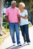 Couples aînés marchant en stationnement ensemble Image stock