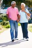 Couples aînés marchant en stationnement ensemble Photos stock