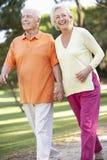 Couples aînés marchant en stationnement ensemble Image libre de droits