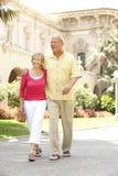 Couples aînés marchant par la rue de ville Image libre de droits