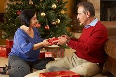Couples aînés permutant des cadeaux Images stock