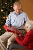 Couples aînés permutant des cadeaux Photographie stock libre de droits